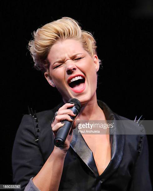 Recording Artist Kimberly Caldwell performs at iiJin's spring/summer 2014 'The Glamorous Life' fashion show at Avalon on October 16 2013 in Hollywood...