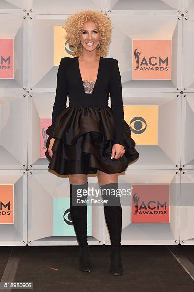 Recording artist Kimberly Schlapman of Little Big Town winners of the Vocal Group of the Year and Vocal Event of the Year awards poses in the press...
