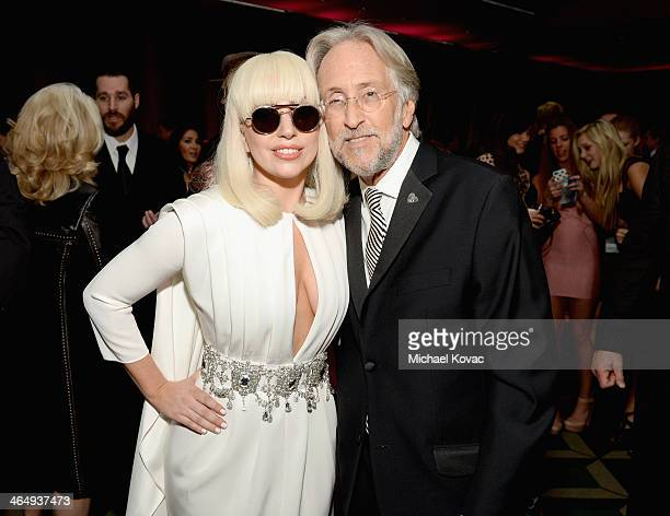 Recording artist Lady Gaga and CEO/President of the National Academy of Recording Arts Sciences Neil Portnow attend 2014 MusiCares Person Of The Year...