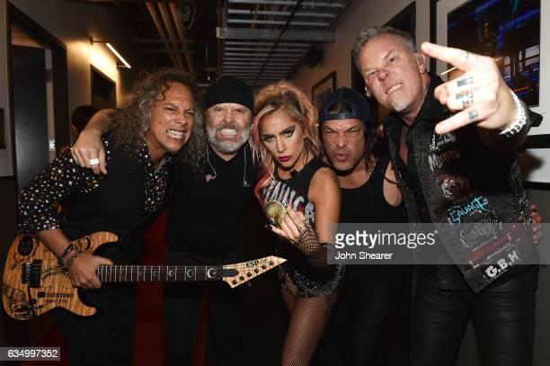 Recording artist Lady Gaga and recording artists Kirk Hammett Lars Ulrich Robert Trujillo and James Hetfield of music group Metallica attend The 59th...