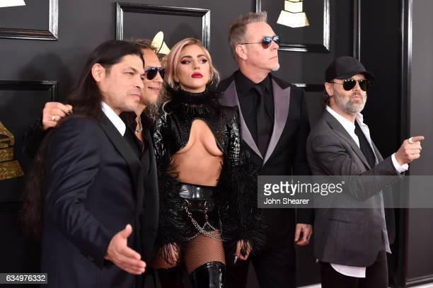 Recording artist Lady Gaga and recording artists Robert Trujillo Kirk Hammett James Hetfield and Lars Ulrich of music group Metallica attend The 59th...