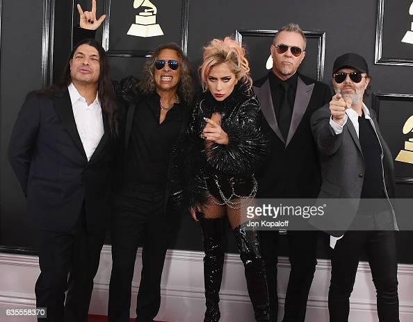 Recording artist Lady Gaga and recording artists Robert Trujillo Kirk Hammett James Hetfield and Lars Ulrich of music group Metallica arrive at the...