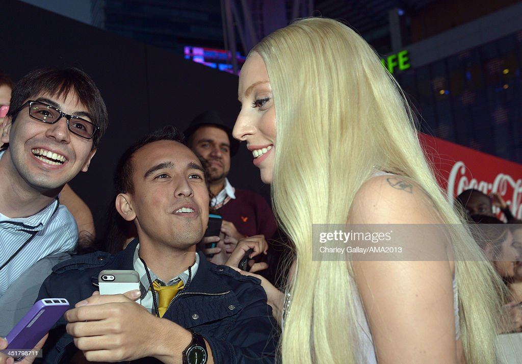 Recording artist <a gi-track='captionPersonalityLinkClicked' href=/galleries/search?phrase=Lady+Gaga&family=editorial&specificpeople=4456754 ng-click='$event.stopPropagation()'>Lady Gaga</a> attends the 2013 American Music Awards Powered by Dodge at Nokia Theatre L.A. Live on November 24, 2013 in Los Angeles, California.