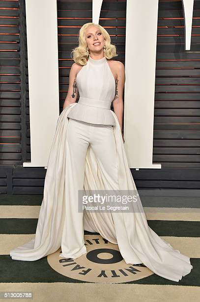 Recording artist Lady Gaga attends the 2016 Vanity Fair Oscar Party Hosted By Graydon Carter at the Wallis Annenberg Center for the Performing Arts...