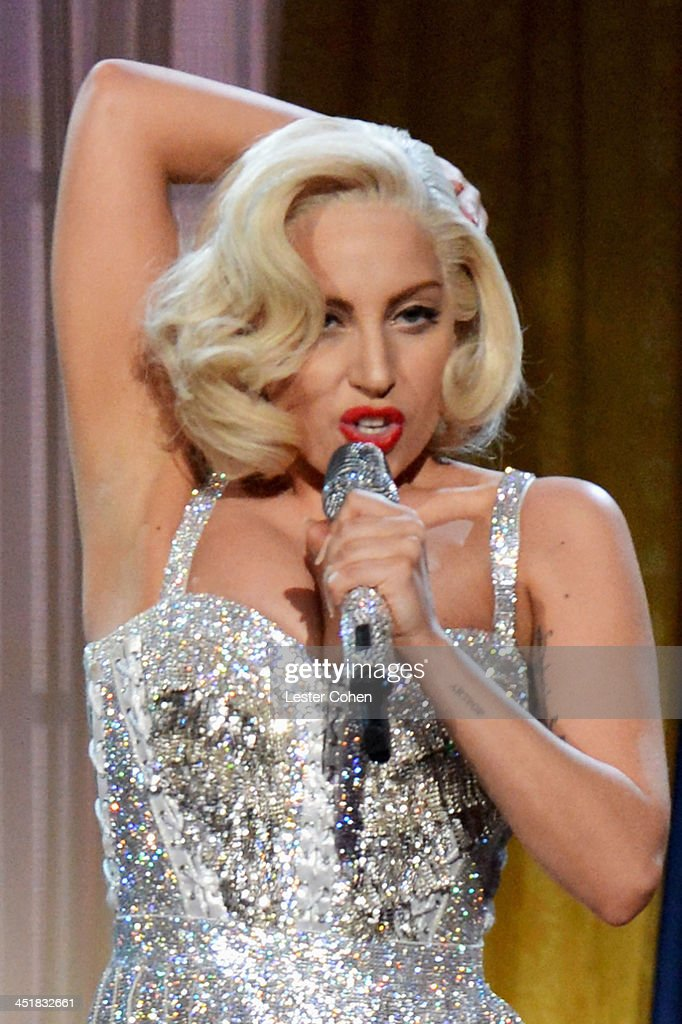 Recording artist <a gi-track='captionPersonalityLinkClicked' href=/galleries/search?phrase=Lady+Gaga&family=editorial&specificpeople=4456754 ng-click='$event.stopPropagation()'>Lady Gaga</a> performs onstage during the 2013 American Music Awards at Nokia Theatre L.A. Live on November 24, 2013 in Los Angeles, California.