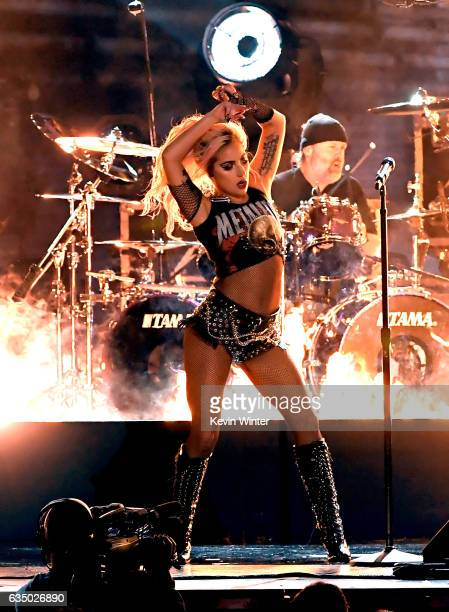 Recording artist Lady Gaga performs onstage during The 59th GRAMMY Awards at STAPLES Center on February 12 2017 in Los Angeles California