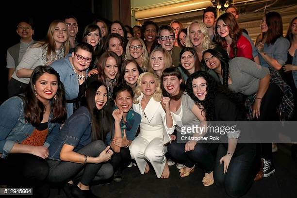 Recording artist Lady Gaga with sexual assault survivors backstage at the 88th Annual Academy Awards at Dolby Theatre on February 28 2016 in...