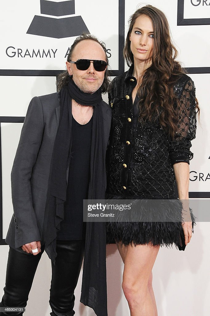 Recording artist Lars Ulrich (L) and model Jessica Miller attend the 56th GRAMMY Awards at Staples Center on January 26, 2014 in Los Angeles, California.