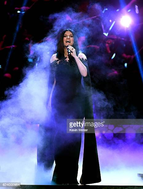 Recording artist Laura Pausini performs onstage during The 17th Annual Latin Grammy Awards at TMobile Arena on November 17 2016 in Las Vegas Nevada