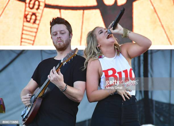 Recording artist Lauren Alaina performs during the Route 91 Harvest country music festival at the Las Vegas Village on September 30 2017 in Las Vegas...