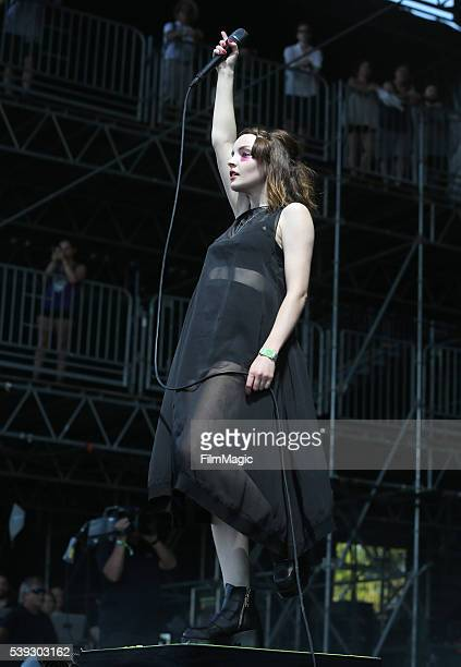 Recording artist Lauren Mayberry of Chvrches performs onstage at What Stage during Day 2 of the 2016 Bonnaroo Arts And Music Festival on June 10 2016...