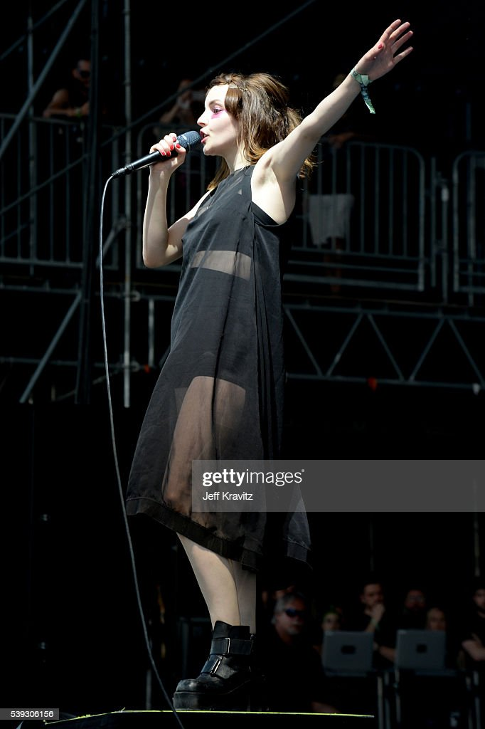 Recording artist Lauren Mayberry of Chvrches performs onstage at What Stage during Day 2 of the 2016 Bonnaroo Arts And Music Festival on June 9 2016...