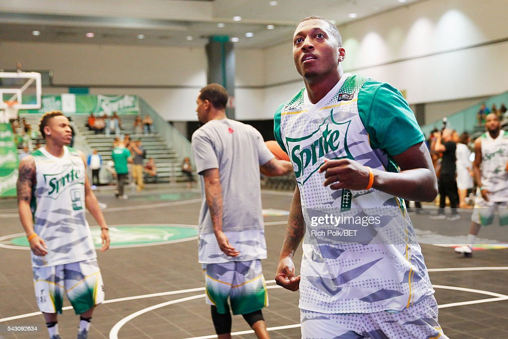 Recording artist <a gi-track='captionPersonalityLinkClicked' href=/galleries/search?phrase=Lecrae&family=editorial&specificpeople=7483341 ng-click='$event.stopPropagation()'>Lecrae</a> participates in the celebrity basketball game presented by Sprite during the 2016 BET Experience on June 25, 2016 in Los Angeles, California.