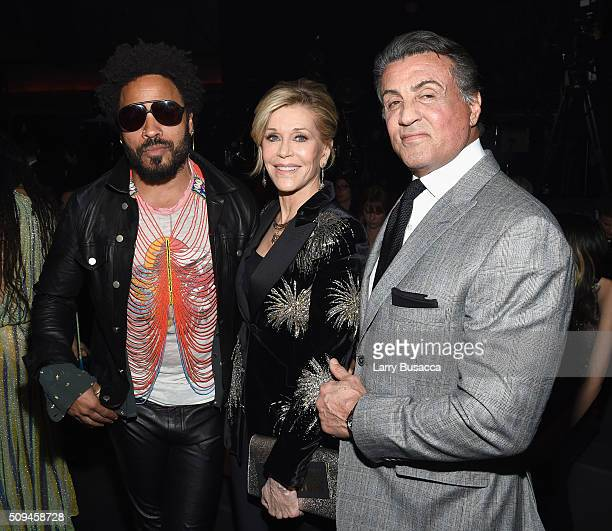 Recording artist Lenny Kravitz and actors Jane Fonda in Saint Laurent by Hedi Slimane and Sylvester Stallone attend Saint Laurent at the Palladium on...