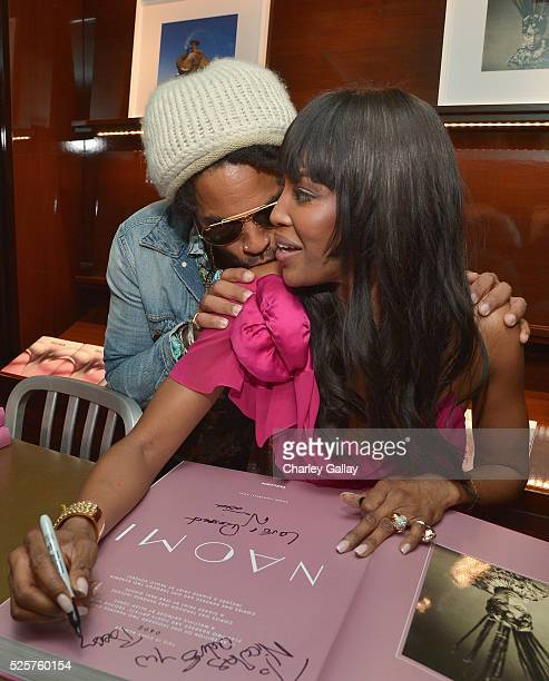 Recording artist Lenny Kravitz and model Naomi Campbell attend the Los Angeles launch of 'Naomi' at Taschen Beverly Hills on April 28 2016 in Beverly...
