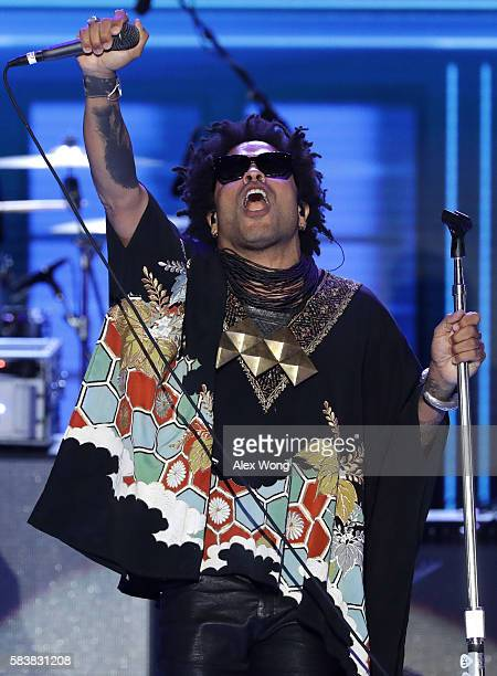 Recording artist Lenny Kravitz performs during the evening session on the third day of the Democratic National Convention at the Wells Fargo Center...