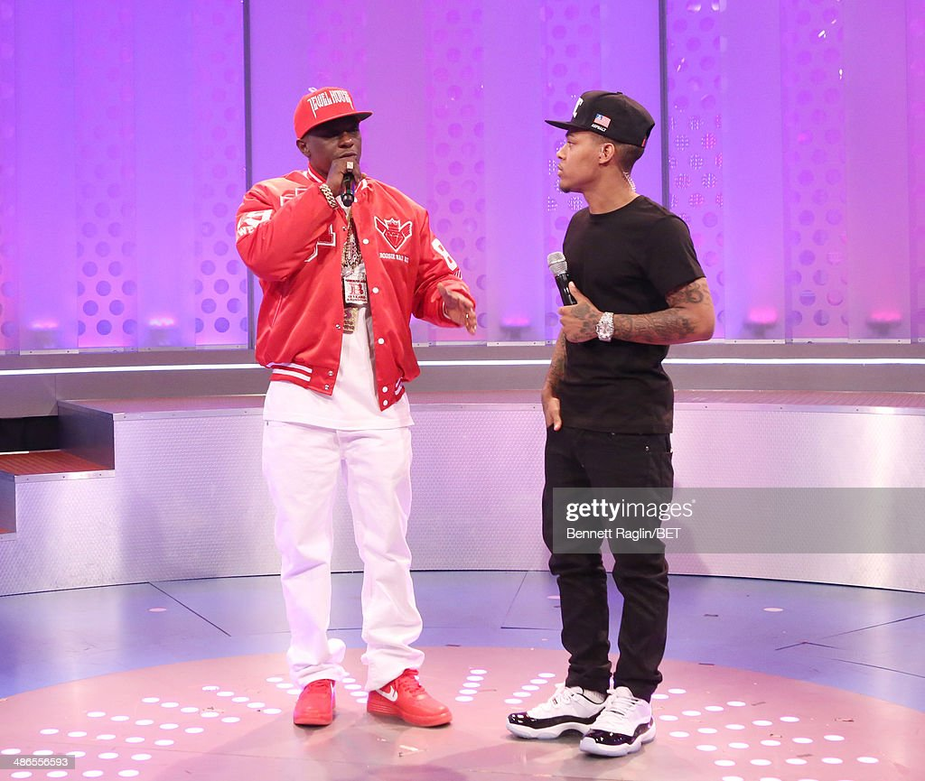 Recording artist <a gi-track='captionPersonalityLinkClicked' href=/galleries/search?phrase=Lil+Boosie&family=editorial&specificpeople=1295943 ng-click='$event.stopPropagation()'>Lil Boosie</a> and 106 & Park host <a gi-track='captionPersonalityLinkClicked' href=/galleries/search?phrase=Bow+Wow+-+Rapper&family=editorial&specificpeople=211211 ng-click='$event.stopPropagation()'>Bow Wow</a> attend 106 & Park at BET studio on April 24, 2014 in New York City.