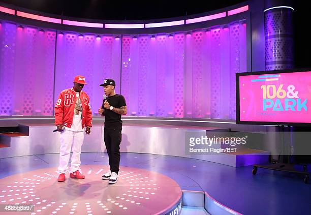 Recording artist Lil Boosie and 106 Park host Bow Wow attend 106 Park at BET studio on April 24 2014 in New York City