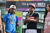 Recording artist Lil Jamez professional boxer Floyd Mayweather and host Mila J speak onstage at 106 Park Sponsored by CocaCola during the 2016 BET...