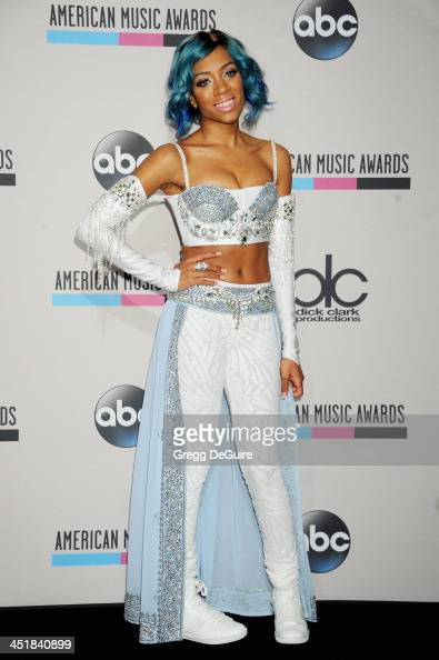 Recording artist Lil' Mama poses in the press room at the 2013 American Music Awards at Nokia Theatre LA Live on November 24 2013 in Los Angeles...