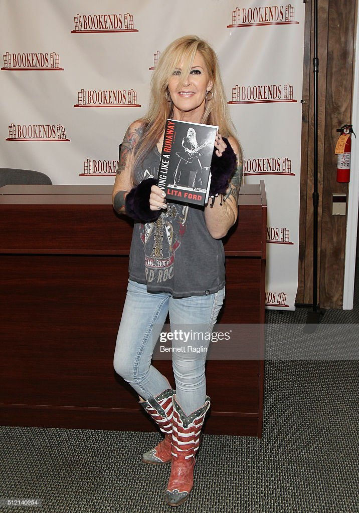 Recording artist Lita Ford poses for a picture during her book signing at Bookends Bookstore on February 24 2016 in Ridgewood New Jersey