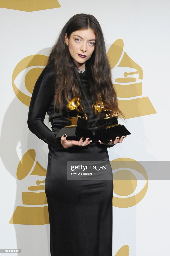 Recording artist <a gi-track='captionPersonalityLinkClicked' href=/galleries/search?phrase=Lorde&family=editorial&specificpeople=3209104 ng-click='$event.stopPropagation()'>Lorde</a> poses in the press room during th 56th GRAMMY Awards at Staples Center on January 26, 2014 in Los Angeles, California.