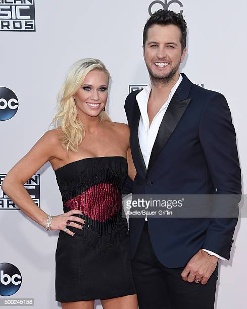 Recording artist Luke Bryan and Caroline Boyer arrive at the 2015 American Music Awards at Microsoft Theater on November 22 2015 in Los Angeles...