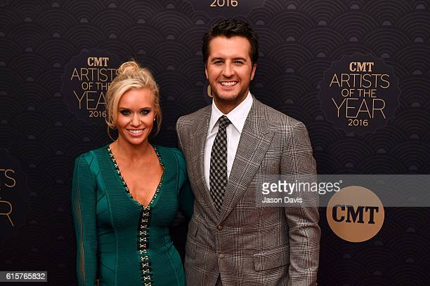 Recording Artist Luke Bryan and wife Caroline Boyer arrive at 2016 CMT Artists of the Year at Schermerhorn Symphony Center on October 19 2016 in...