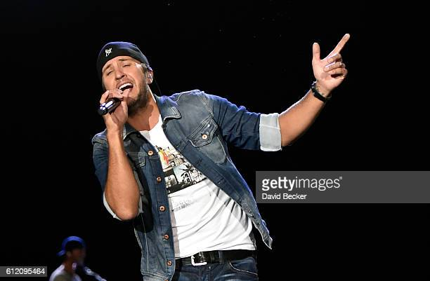 Recording artist Luke Bryan performs during the Route 91 Harvest country music festival at the Las Vegas Village on October 2 2016 in Las Vegas Nevada