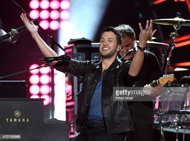 Recording artist Luke Bryan performs onstage during ACM Presents Superstar Duets at Globe Life Park in Arlington on April 17 2015 in Arlington Texas