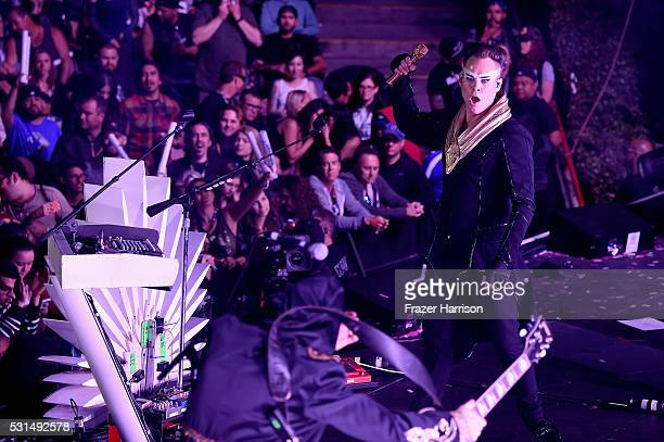 Recording artist Luke Steele of music group Empire of the Sun performs onstage at KROQ Weenie Roast 2016 at Irvine Meadows Amphitheatre on May 14...