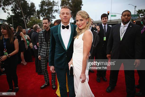 Recording artist Macklemore and Tricia Davis attend the 56th GRAMMY Awards at Staples Center on January 26 2014 in Los Angeles California