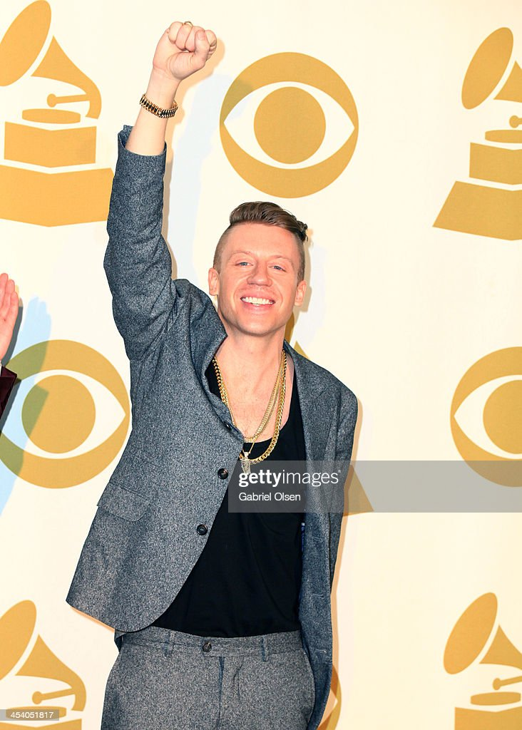 Recording artist Macklemore poses in the press room during The GRAMMY Nominations Concert Live Countdown to Music's Biggest Night at Nokia Theatre LA...
