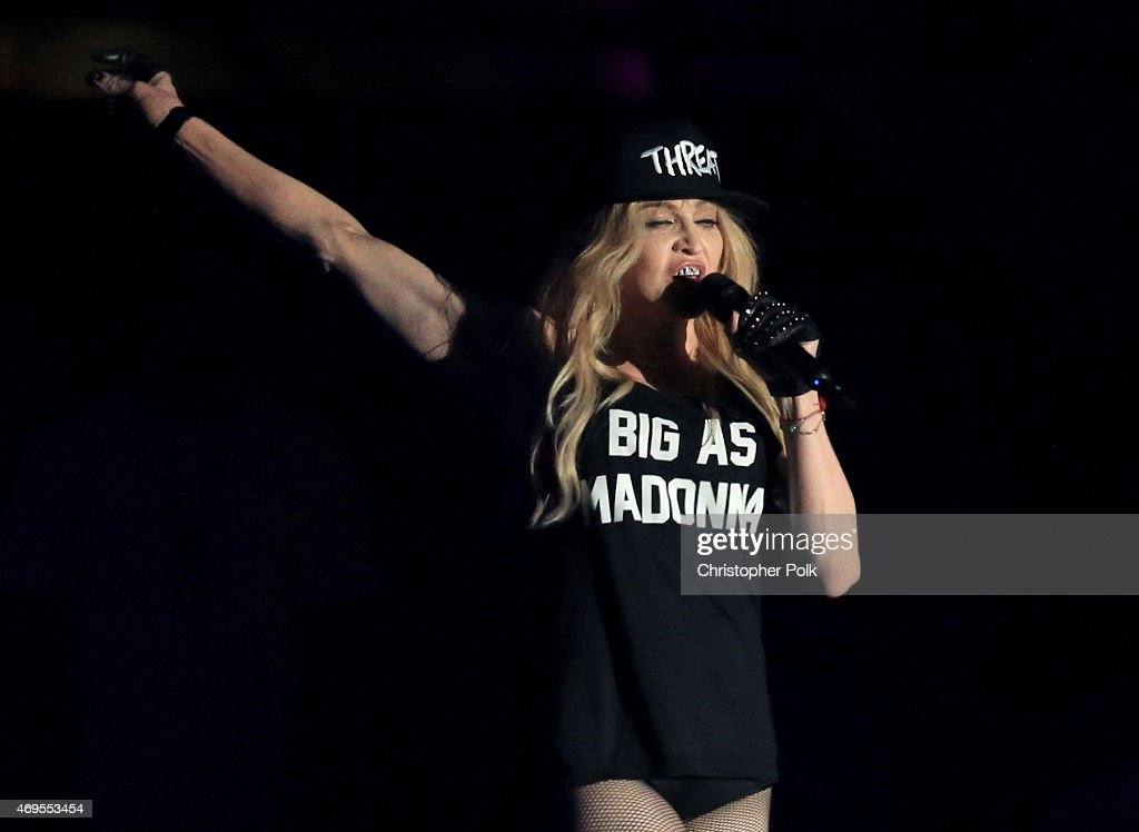 Recording artist Madonna performs onstage with Drake during day 3 of the 2015 Coachella Valley Music Arts Festival at the Empire Polo Club on April...