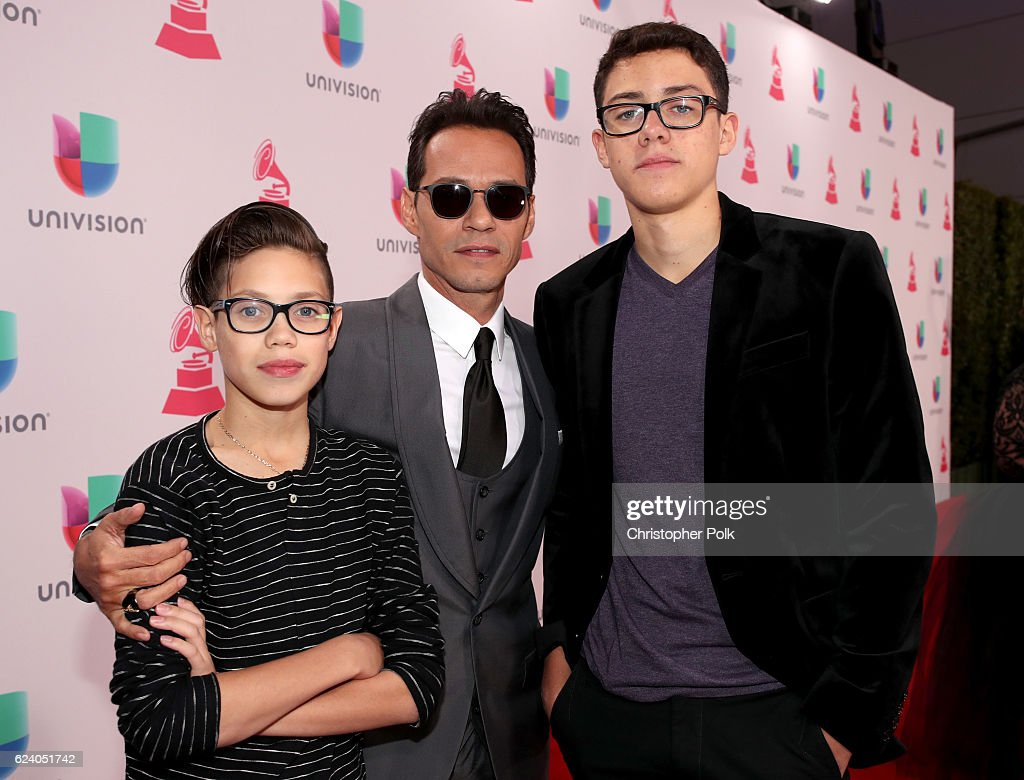 Recording artist Marc Anthony (C) arrives with his sons Ryan Adrian Muniz (L) and Cristian Marcus Muniz (R) at The 17th Annual Latin Grammy Awards at T-Mobile Arena on November 17, 2016 in Las Vegas, Nevada.