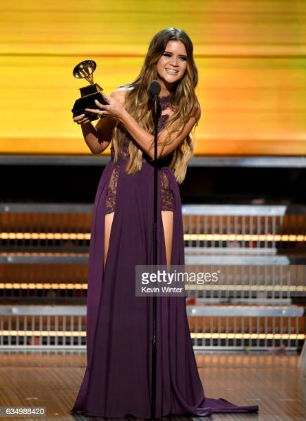 Recording artist Maren Morris accepts the Best Country Solo Performance award for 'My Church' onstage during The 59th GRAMMY Awards at STAPLES Center...