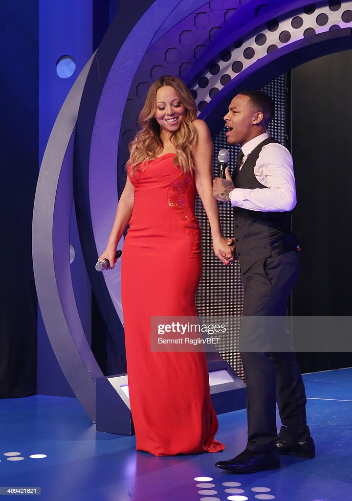 Recording artist <a gi-track='captionPersonalityLinkClicked' href=/galleries/search?phrase=Mariah+Carey&family=editorial&specificpeople=171647 ng-click='$event.stopPropagation()'>Mariah Carey</a> and 106 & Park host <a gi-track='captionPersonalityLinkClicked' href=/galleries/search?phrase=Bow+Wow+-+Rapper&family=editorial&specificpeople=211211 ng-click='$event.stopPropagation()'>Bow Wow</a> attend 106 & Park at BET studio on February 11, 2014 in New York City.