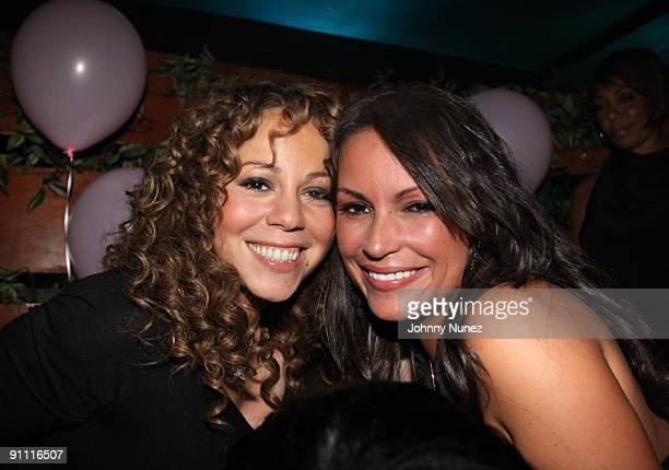 Recording artist Mariah Carey and radio personality Angie Martinez attend Shawn Pecas' birthday party at Pink Elephant on September 23 2009 in New...