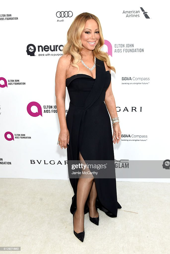 Recording artist <a gi-track='captionPersonalityLinkClicked' href=/galleries/search?phrase=Mariah+Carey&family=editorial&specificpeople=171647 ng-click='$event.stopPropagation()'>Mariah Carey</a> attends the 24th Annual Elton John AIDS Foundation's Oscar Viewing Party at The City of West Hollywood Park on February 28, 2016 in West Hollywood, California.