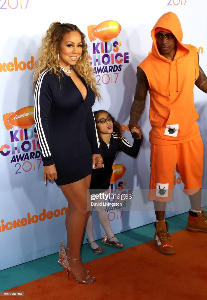 Recording artist Mariah Carey, Monroe Cannon, and tv personality Nick Cannon attend Nickelodeon's 2017 Kids' Choice Awards at USC Galen Center on March 11, 2017 in Los Angeles, California.