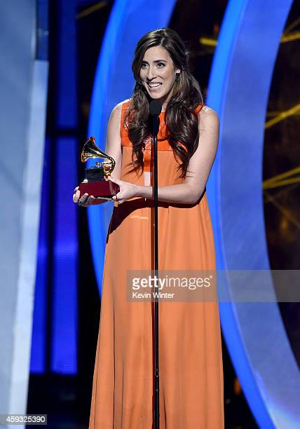 Recording artist Mariana Vega accepts the Best New Artist award onstage during the 15th annual Latin GRAMMY Awards at the MGM Grand Garden Arena on...