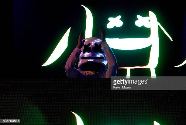 Recording artist Marshmello performs onstage during the 2016 Billboard Hot 100 Festival Day 2 at Nikon at Jones Beach Theater on August 21 2016 in...