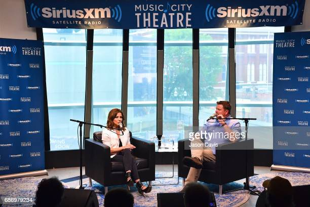 Recording Artist Martina McBride and SiriusXM Host Storme Warren speak during SiriusXM's Town Hall With Martina McBride at SiriusXM Studios on May 22...