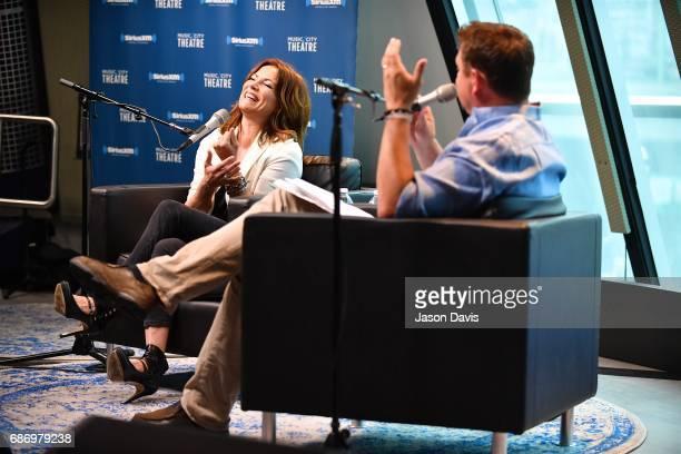 Recording Artist Martina McBride and SiriusXM Host Storme Warren speak during SiriusXM's Town Hall With Martina McBride at SiriusXM Studios on May 22...