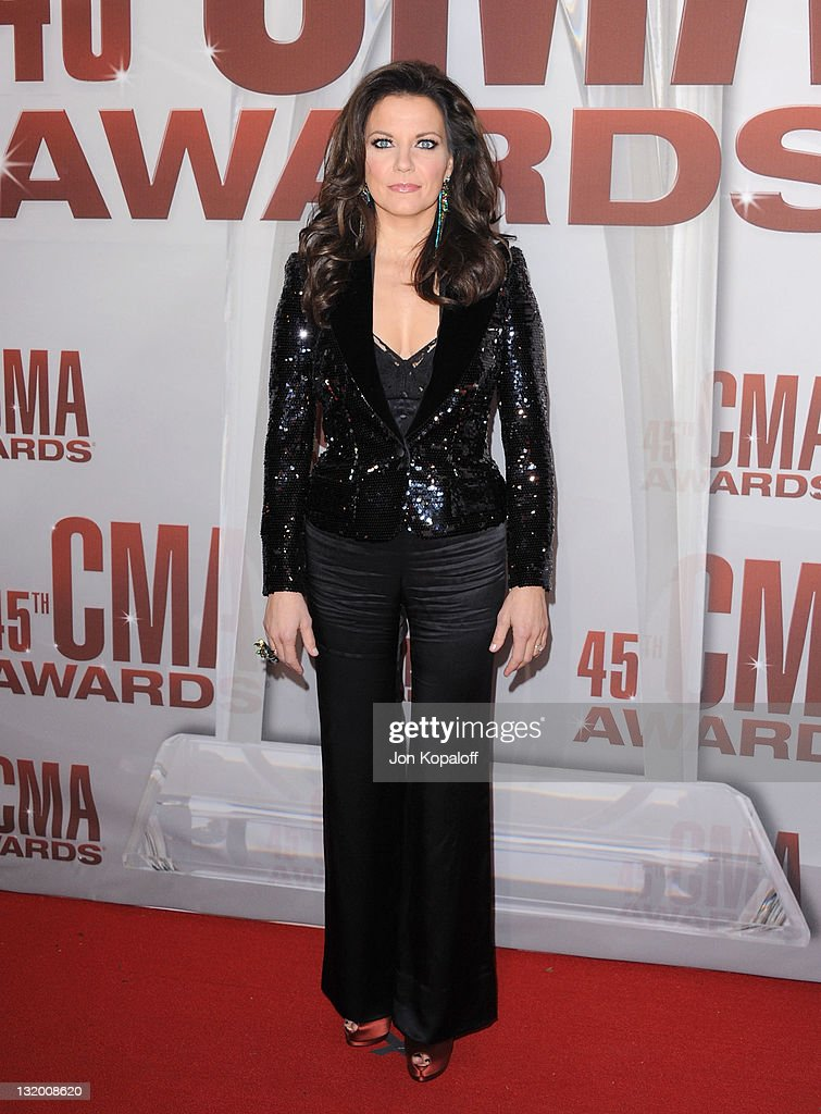 Recording artist <a gi-track='captionPersonalityLinkClicked' href=/galleries/search?phrase=Martina+McBride&family=editorial&specificpeople=204772 ng-click='$event.stopPropagation()'>Martina McBride</a> arrives at the 45th annual CMA Awards at the Bridgestone Arena on November 9, 2011 in Nashville, Tennessee.