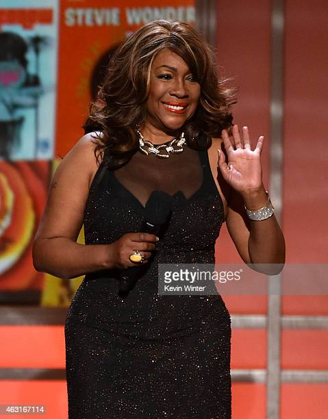 Recording artist Mary Wilson speaks onstage during Stevie Wonder Songs In The Key Of Life An AllStar GRAMMY Salute at Nokia Theatre LA Live on...