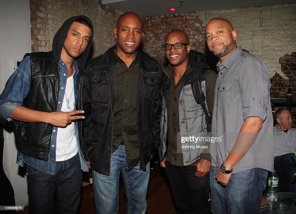 Recording artist Mateo Kelly G Omar Grant and Kerry 'Krucial Brothers' attend a Mateo listening session at AM Studios on September 20 2011 in New...