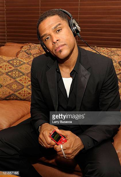 *EXCLUSIVE* Recording artist Maxwell poses with Sony SSeries Walkman mp3 player and Sony digital headphones at Columbia Records Announces the...