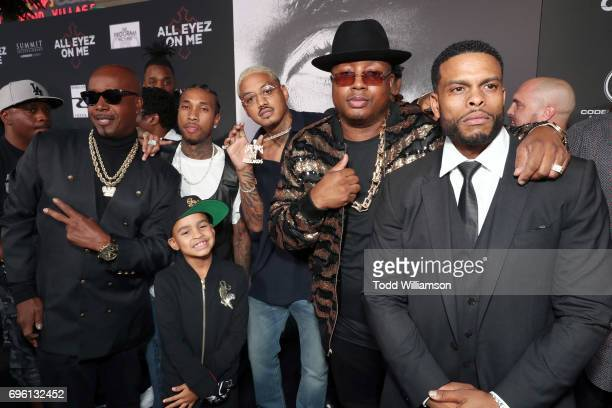 Recording artist MC Hammer Tyga guest recording artist E40 and director Benny Boom at the 'ALL EYEZ ON ME' Premiere at Westwood Village Theatre on...