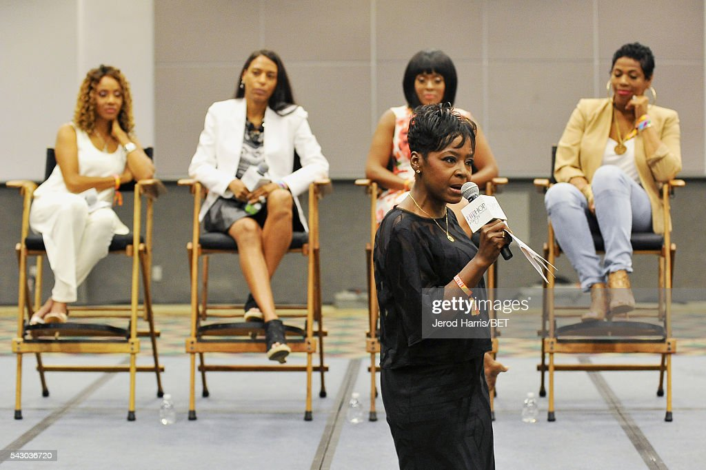 Recording artist <a gi-track='captionPersonalityLinkClicked' href=/galleries/search?phrase=MC+Lyte&family=editorial&specificpeople=226807 ng-click='$event.stopPropagation()'>MC Lyte</a>, Mandy Aragones, CEO of Hip Hop Sisters Foundation Lynn Richardson, tv personality Stacey J and recording artist Nicci Gilbert speak during Women, Wealth, and Relationships presented by HIP HOP SISTERS during the 2016 BET Experience on June 25, 2016 in Los Angeles, California.